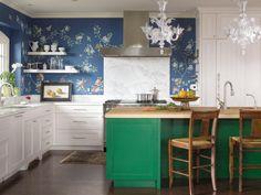 fancy kitchen wallpaper designs ideas as small kitchen ideas with kitchen design trends Green Kitchen, Kitchen Colors, New Kitchen, Kitchen Decor, Kitchen Ideas, Kitchen Designs, Funky Kitchen, Happy Kitchen, Awesome Kitchen