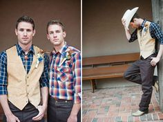 Having a country wedding? Tell your man to Cowboy up and take a tip from these two! #groom #style
