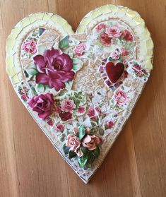 Custom Mosaic hearts - made for you! Plywood backing in any size up to Specify color & occasion. Mosaic Tile Art, Mosaic Diy, Mosaic Crafts, Mosaic Projects, Diy Craft Projects, Mosaic Glass, Stained Glass, Craft Ideas, Class Projects