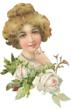 Victorian lady with roses                                                                                                                                                                                 More