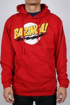 The Big Bang Theory No Face Bazinga! Mens Hoodie Red L
