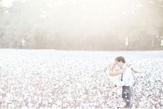 Dreamy Engagement Session in a Cotton Field by Glass Jar Photography