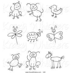 critter-clipart-of-a-coloring-page-stick-figure-cat-dog-bird-dragonfly-ladybug-butterfly-pig-pupy-and-horse-by-c-charleyfranzwa-430.jpg (1024×1044)
