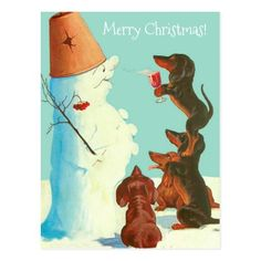 four dachshunds, one stands on anothers shoulder as happy snowman sniffs wine - European postcard, 1912 Vintage Dachshund, Dachshund Art, Daschund, Christmas Art, Vintage Christmas, Funny Dogs, Cute Dogs, Weenie Dogs, Doggies