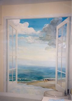 mural painting of a window | ... - Murals, Stained Glass, Fresco, Ceramic Tile, Limestone, Paintings
