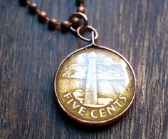 Barbados Lighthouse Coin Pendant. $19.50, www.lorinda3ljewelry.etsy.com