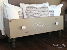 Dresser Drawer Repurposing: Id put blankets instead of pillows