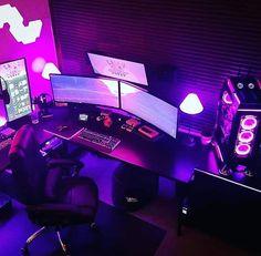 1 half of pc setup Best Gaming Setup, Gaming Room Setup, Computer Setup, Gamer Setup, Office Setup, Pc Setup, Desk Setup, Cave Game, Led Stripes