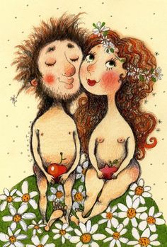 Painting by Tina Beteh Print Pictures, Cute Pictures, Adam And Eve, Happy Art, Norman Rockwell, Cute Illustration, Cool Art, 1, Teddy Bear