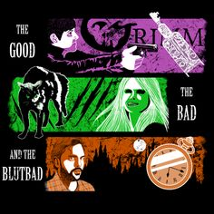"""TODAY'S TEE: Inspired by the TV show Grimm. """"The Good, the Bad, and the Blutbad""""! Designed by AriesNamarie. 3 shirt colors. $11 only! For 24 hours! www.unamee.com."""