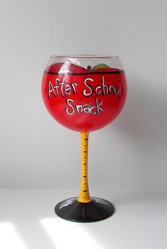 Hand Painted Wine Glass Apple Wine Glass Teacher by EmbellishCraft