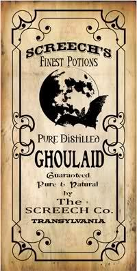 Ghoulaid Potion label. Dead Man's toes, Bat's Breath, Barking Spiders, Nightmare Potion, Fairy Tears...