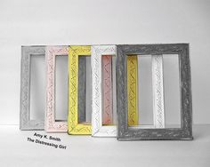 ornate 11 by 14 picture frame painted yellow soft pink grey gray white by thedistressinggirl the