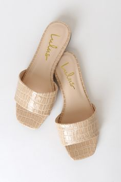 Slide into this season's hottest trend with the Lulus Markiee Nude Patent Crocodile-Embossed Slide Sandals! Vegan patent leather slide sandals with square toe. Trendy Sandals, Women Sandals, Heeled Boots, Shoe Boots, Leather Sandals Flat, Fashion Sandals, Slide Sandals, Comfortable Shoes, Me Too Shoes