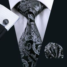 Mens Tie Black Paisley Silk Classic Ties Hanky Cufflinks Set For Men Formal  Wedding Neck Tie Set Party Groom Hot Sell 6c3500d1e1ae