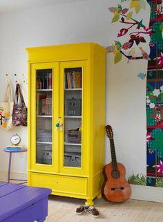 Bunte Möbel Jugendzimmer Gelber Kleiderschrank