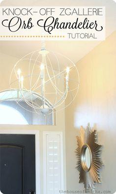DIY Orb chandelier tutorial - Zgallerie light knock off - houseofsmiths (SW Dockside Blue? Diy Pendant Light, Orb Light, Pendant Lights, Globe Chandelier, Chandelier Lighting, Lampshade Chandelier, Accent Lighting, Deco Luminaire, Diy Home Decor