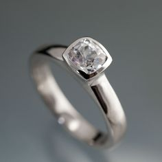 Lab Created Cushion White Sapphire Bezel Solitaire Engagement Ring