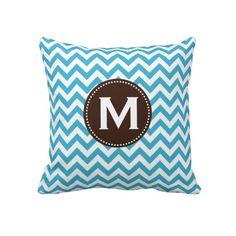 Aqua Blue White Monogram Chevron Pattern Pillows from Zazzle.com