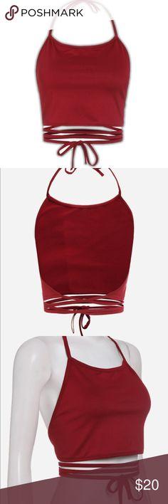 cb1c154da94b2 🎊FLASH SALE Boho Halter Lace Up Crop Cami -new in package -has stretch