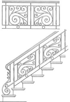 Ideas iron stairs railing banisters for 2019 Wrought Iron Stair Railing, Stair Railing Design, Iron Staircase, Staircase Railings, Banisters, Railing Ideas, Balustrade Balcon, Balustrades, Stair Art
