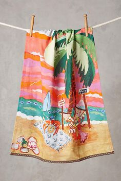 NWT ANTHROPOLOGIE Lolette cabana Tea Towel Cotton Dishtowel Beach Scene Sold Out #ANTHROPOLOGIE