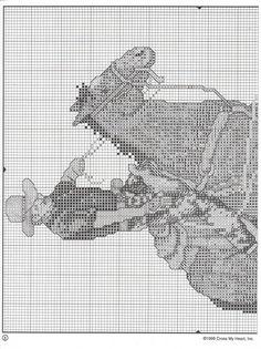 Schematic cross stitch Horses 12