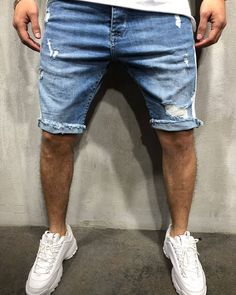 Ripped Denim, Denim Shorts, Jean Short Outfits, Denim Company, Mens Style Guide, Street Wear, Men Casual, Menswear, How To Wear