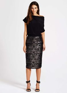 Black Sequin Pencil Skirt | Sequin pencil skirt, Black sequins and ...