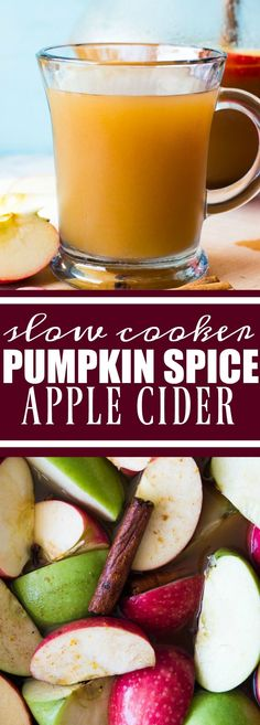 Enjoy all the flavors of fall with this pumpkin spice infused apple cider made using REAL apples! Pumpkin Spice Apple Cider I love pumpkin spice. What's the hashtag that Thanksgiving Recipes, Fall Recipes, Holiday Recipes, Spiced Apple Cider, Spiced Apples, Slow Cooker Recipes, Crockpot Recipes, Cooking Recipes, Slow Cooking