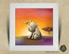Cadre carré 25x25 avec Illustration Bébé rhinocéros et