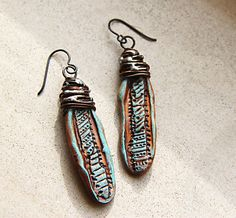 earthy copper dangles tribal natural earrings by HappyFishShop, €15.00