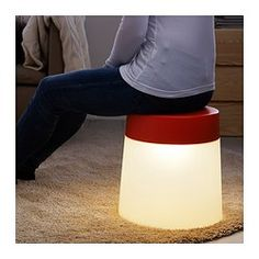 "A stool thats also a light- w/ a ""mood light"" as ikea.com says- can be used indoors or outdoors- would b great for that back patio! The covered brick patio && the uncovered cement one!! Could ALSO USE on bbq patio for after the ""remodel""/uplift- adding pergola covering w/ roman shade ceiling under pergolla ""roof"" u can pull/roll extend out to cover area/part way or closed up-- && sand flooring & ""level-lowered*/in ground/step-downin- a fir pit area  && could use these stools aroumd fire pit…"