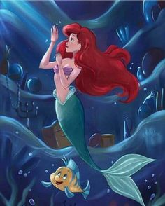 Ariel in her secret grotto of human objects with Flounder