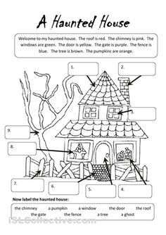 A Haunted House worksheet - Free ESL printable worksheets made by teachers Halloween Worksheets, Halloween Activities, Halloween Themes, Halloween Decorations, Halloween Crafts For Kids, Halloween Fun, Halloween Poster, Halloween Witches, Halloween Pictures