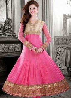 Pink chanderi cotton silk anarkali salwar kameez
