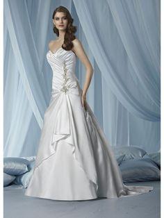 Elegant Beaded A-Line Satin Sweetheart Sleeveless Wedding Dresses IM3103