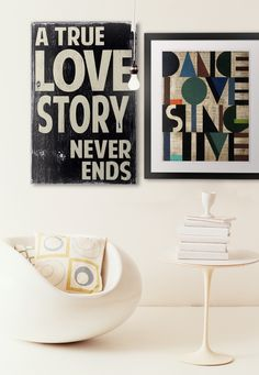 Add a little typography to bare walls with this stylized work from Barn Owl Primitives and Sydney Edmunds. Look for room that are uncluttered, spacious, and open to make a big impact with typographic artwork.