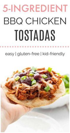 BBQ Chicken tostadas- not actually your regular bbq chicken but a bit more from it. Make this for your beloved ones. Healthy Bbq Recipes, Healthy Living Recipes, Healthy Weeknight Meals, Easy Delicious Recipes, Nutritious Meals, Yummy Food, Healthy Lunches, Yummy Yummy, Healthy Food