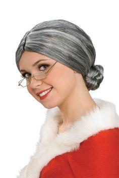 Grey Wig Old Lady Rubies 1900's Teacher Mrs Santa Full Nice Hair #Rubies