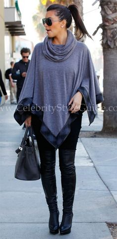 Kim Kardashian in 6 Shore Road's Audrey's Poncho in Gris while out and about in Beverly Hills on Tuesday, January 24, 2012 Her stylist, Monica Rose pulled this poncho from their LA office last week!