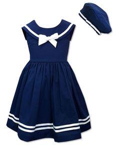 Jayne Copeland Kids Dress, Little Girls Sailor Dress and Beret - Kids Girls 2-6X - Macy's