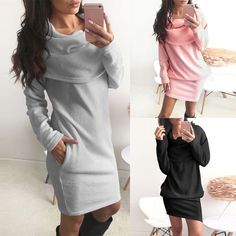 Fashion Women Tops Long Sleeve Turn Down Collar Loose Cocktail Dress Sweater