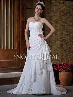Beach A-Line Long Chiffon Sweetheart Asymmetrical  Wedding Dress - US$ 167.99 - Style W0312 - Snowy Bridal