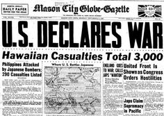History World War I. United States Declaration of War upon Japan - World War 2 facts . Newspaper Headlines, Old Newspaper, Newspaper Article, World History, World War Ii, Pearl Harbor Pictures, Mason City, Pearl Harbor Attack, Military History