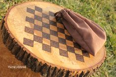 Rustic Log Checker Game Set 26 rustic checker pieces Natural Waldorf Classic Family Board Game. FunnyFarmToyBarn via Etsy.
