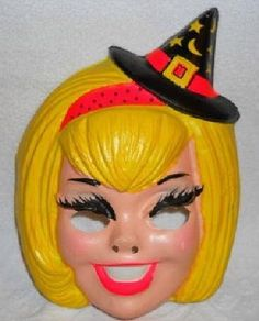 Vintage 1960's Plastic Witch Halloween Mask