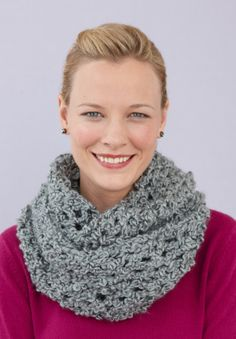 A cowl you can crochet in no time, and Silky Twist yarn makes it super soft to the touch.