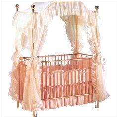 Brass Canopy Vintage Baby Crib - Available at StylishVintageBaby.com
