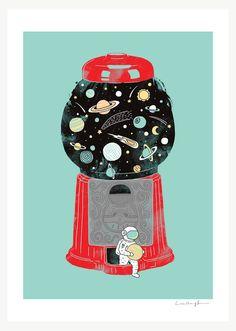 My Childhood Universe  Art Print por ilovedoodle en Etsy. , via Etsy.